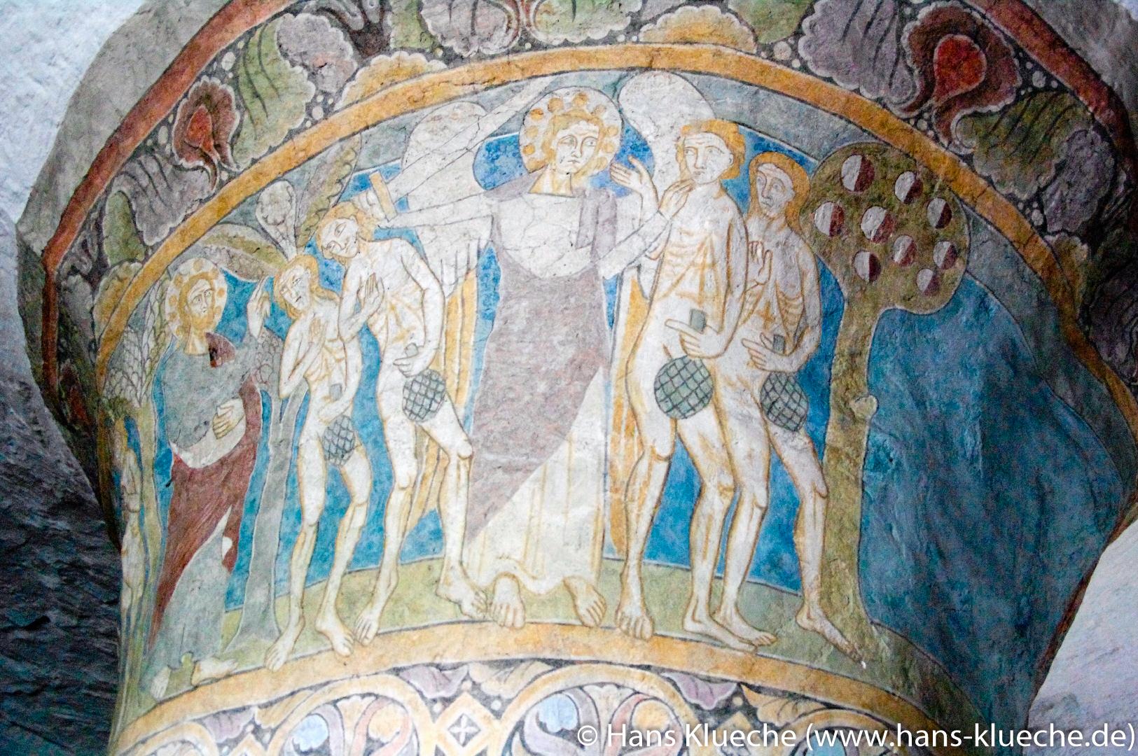 Kalkmalerei am Mittelpfeiler der Nylars Kirke